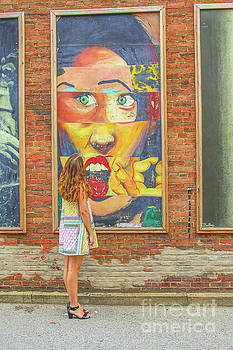 Randy Steele - Young Girl and Wall Street Art