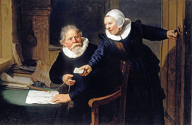 Portrait of Jan Rijcksen and his Wife Griet Jans Print by Rembrandt