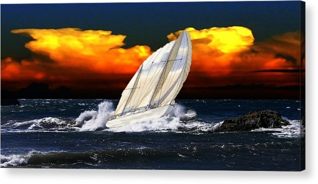 Sailboat Acrylic Print featuring the digital art The Storm by Kenna Westerman