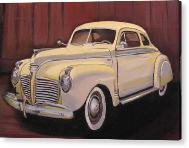 This Is The Beautiful Old Car Aunt Clara Keeps In Her Barn Acrylic Print featuring the painting 1941 Plymouth - Aunt Clara by Mary Hollinger