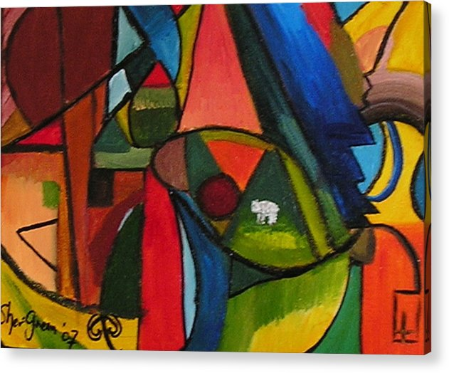 Lamb Solitude World Frenzy Colourful Vibrant Abstract Acrylic Print featuring the painting Lost And Alone by Sher Green