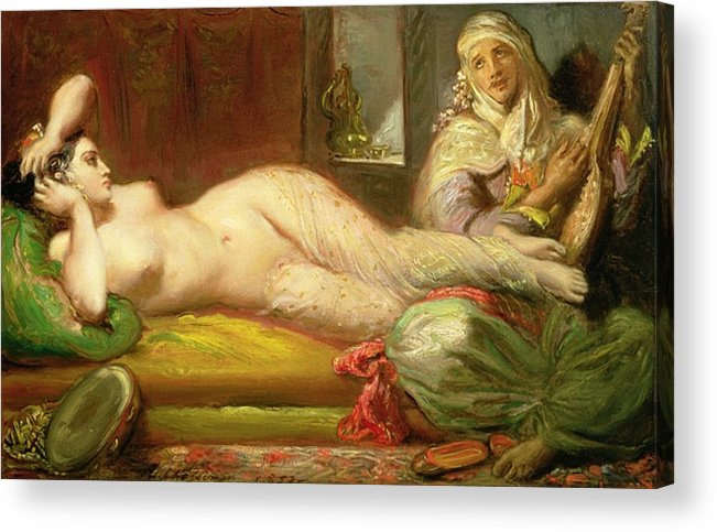 Reclining Acrylic Print featuring the painting Reclining Odalisque by Theodore Chasseriau
