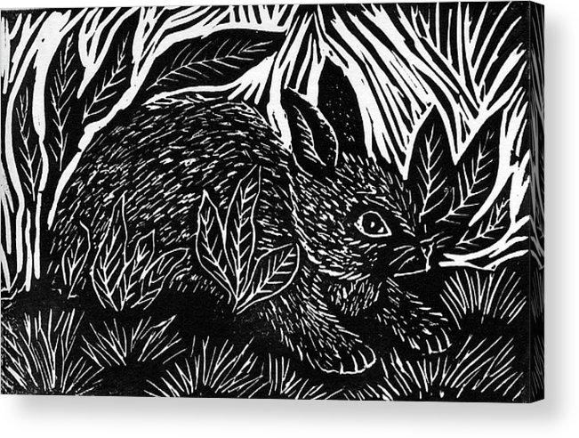Lino Acrylic Print featuring the mixed media Cottontail Block Print by Ellen Miffitt