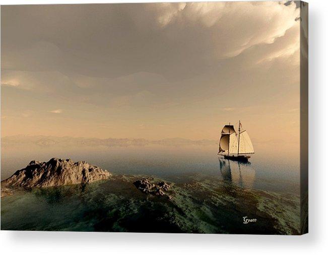 Ocean Acrylic Print featuring the digital art A Quiet Sail by Julie Grace