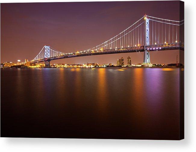 Horizontal Acrylic Print featuring the photograph Ben Franklin Bridge by Richard Williams Photography