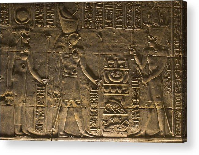 Africa Acrylic Print featuring the photograph Hieroglyph At Edfu by Darcy Michaelchuk