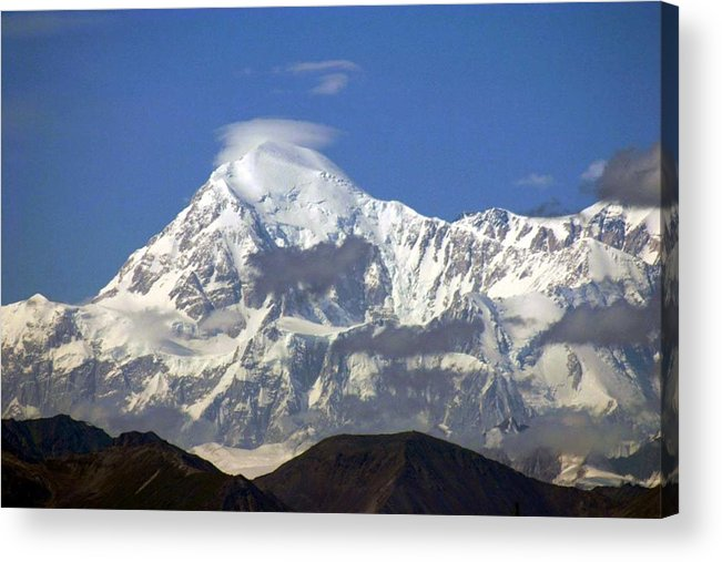Mt Mckinley Wind Circling Blue Sky Acrylic Print featuring the photograph Mt. Mckinley Circling Wind by Jack G Brauer
