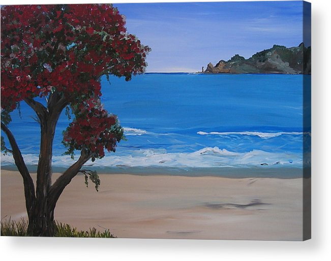 Landscape Seascape Pohutukawa Tree Acrylic Print featuring the painting A Peaceful Place Revisited by Sher Green