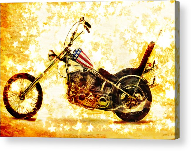 Easy Rider Acrylic Print featuring the mixed media Captain America by Russell Pierce