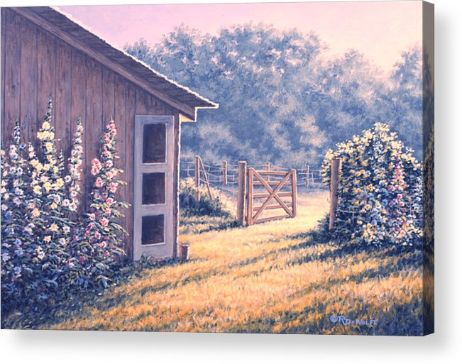Flowers Acrylic Print featuring the painting Holly Hocks by Richard De Wolfe