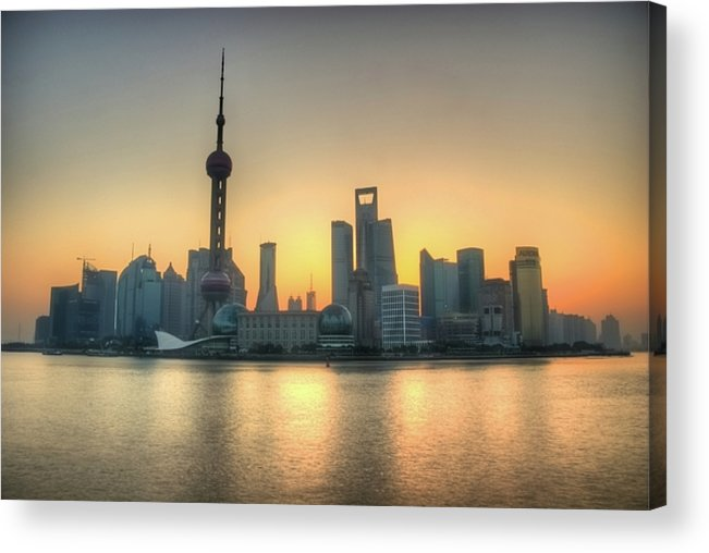 Horizontal Acrylic Print featuring the photograph Skyline At Sunrise by Photo by Dan Goldberger