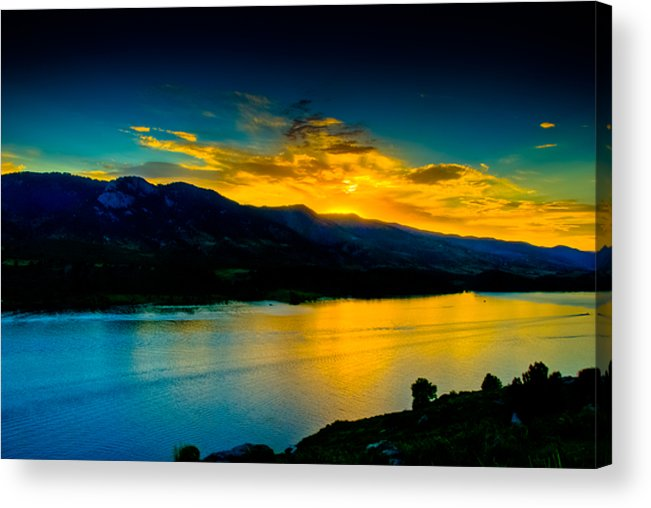 Sunset Acrylic Print featuring the photograph Sunset At Horsetooth Reservoir by Harry Strharsky