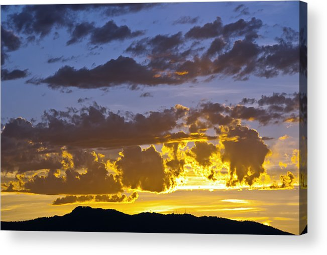 Fort Collins Acrylic Print featuring the photograph Sunset Over Horsetooth Rock by Harry Strharsky