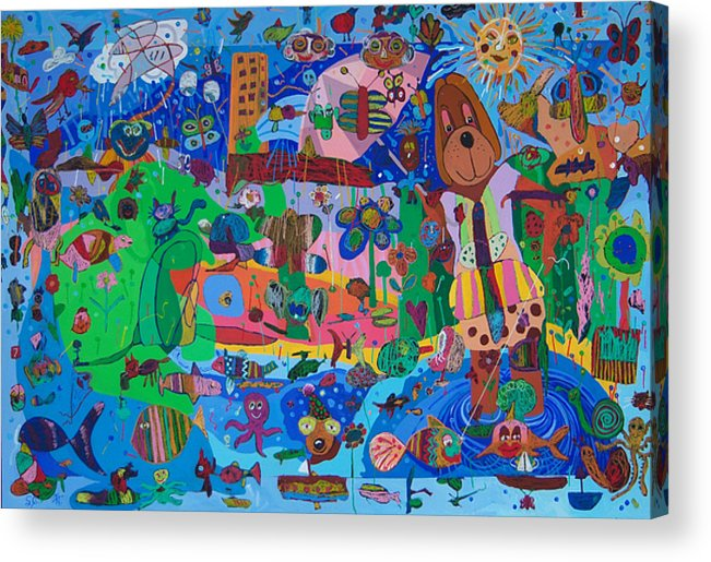 Acrylic Acrylic Print featuring the painting The Dog Out Walking The Fish by Seema Gill