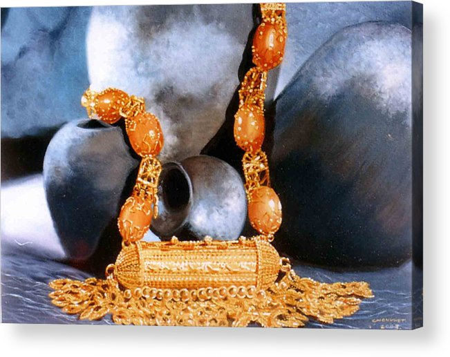Oil Acrylic Print featuring the painting Still Life by Chonkhet Phanwichien
