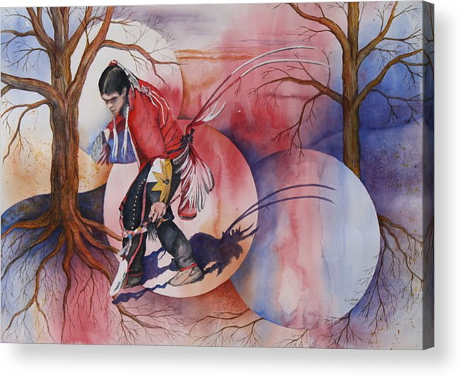 Native American Spirit Portrait Acrylic Print featuring the painting Red Dancer by Patsy Sharpe