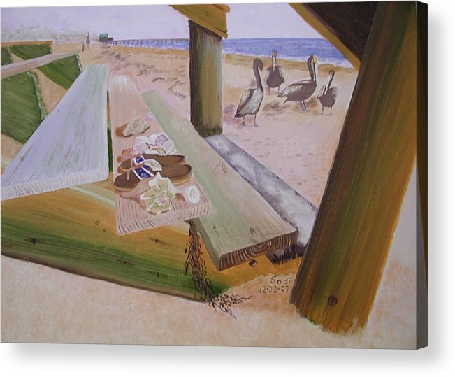 Beach Landscape Acrylic Print featuring the painting Beachcomber by Sodi Griffin