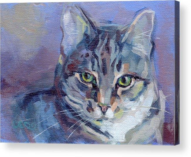 Tabby Cat Acrylic Print featuring the painting Green Eyed Tabby - Thomasina by Kimberly Santini