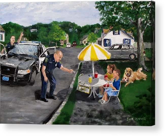 Police Acrylic Print featuring the painting The Lemonade Stand by Jack Skinner