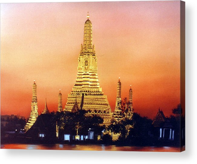 Oil Acrylic Print featuring the painting Wat Aroon by Chonkhet Phanwichien