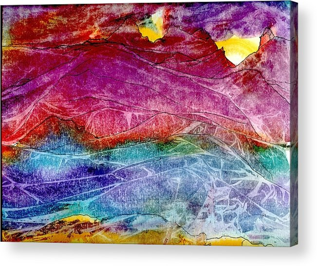 Sunsets Acrylic Print featuring the painting Heavenly Light Kisses Mountains Goodnight. by Laura Johnson