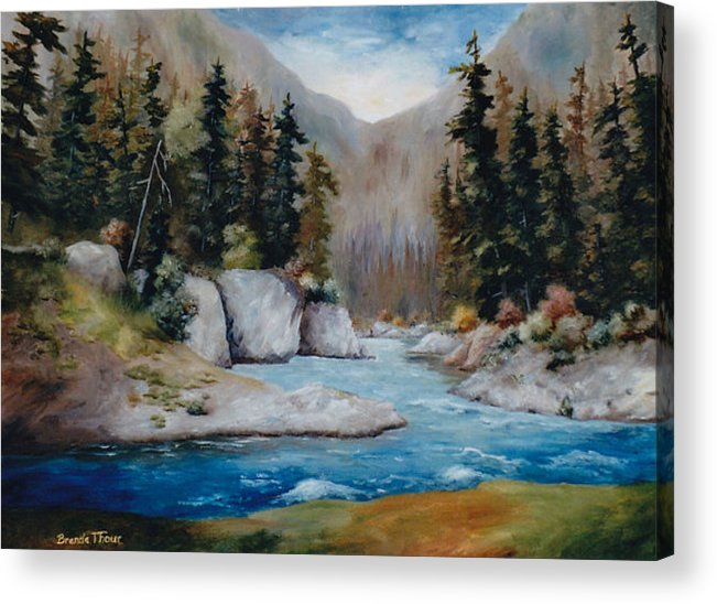 Landscape Acrylic Print featuring the painting Rushing Waters by Brenda Thour