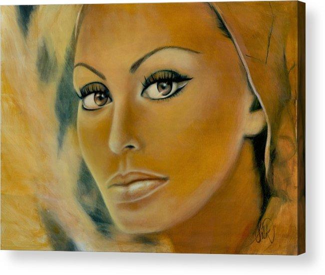 Portrait Acrylic Print featuring the painting Sophia Loren by Elizabeth Silk