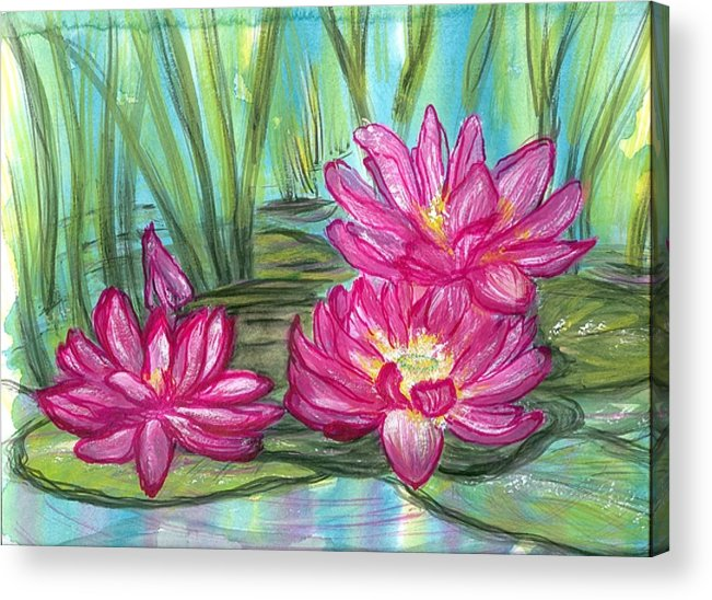 Pondscape Acrylic Print featuring the painting Summer Pond After A Rain by Laura Johnson