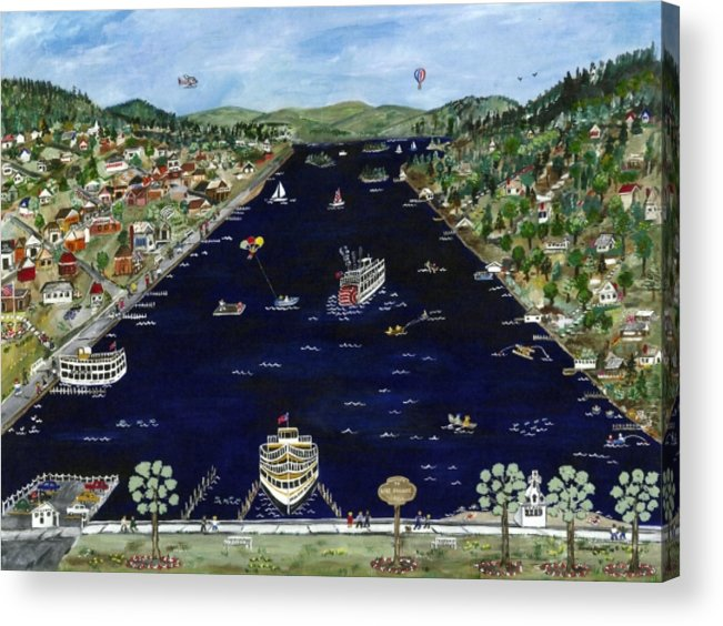 Folk Art Acrylic Print featuring the painting Welcome To Lake George Ny by Sandie Keyser