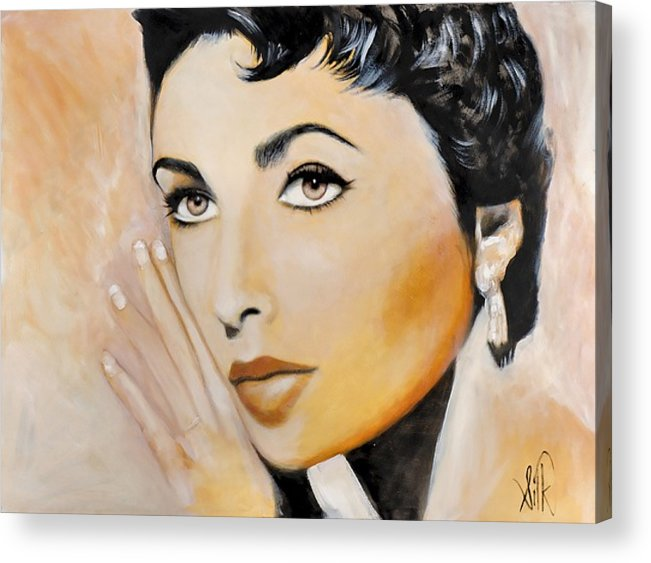 Portrait Acrylic Print featuring the painting Elizabeth Taylor by Elizabeth Silk