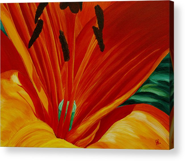 Macro Flower Acrylic Print featuring the painting Lilly Vertigo by Julie Pflanzer
