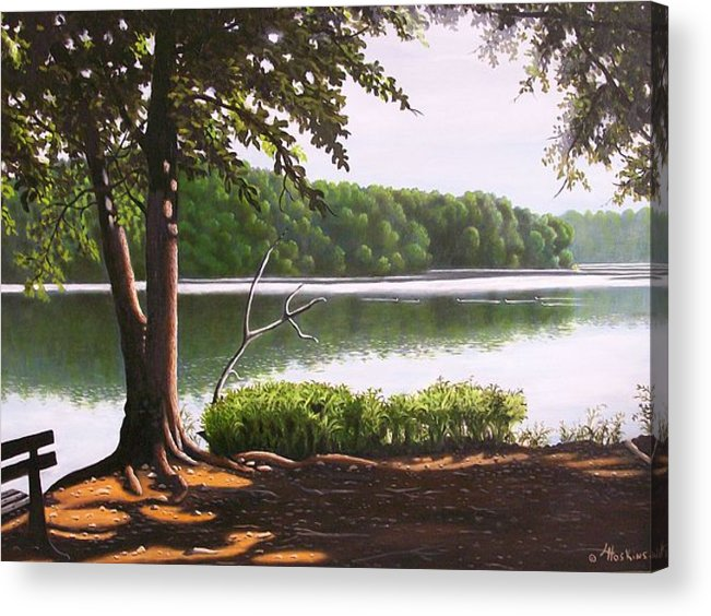 Landscaoes Acrylic Print featuring the painting Morning At City Lake Park by Larry Hoskins