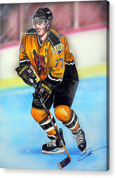 Hockey Acrylic Print featuring the painting Boston Bruins Ray Bourque by Dave Olsen