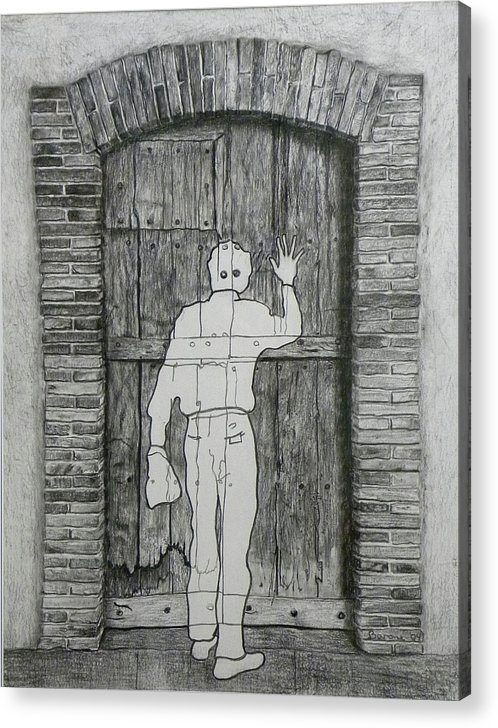 Etant Donnes Acrylic Print featuring the drawing Being Taken by Riccardo Alone