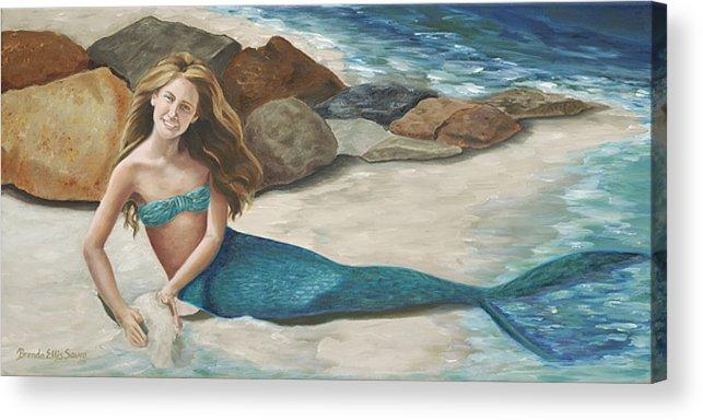 Mermaids Acrylic Print featuring the painting Krissy by Brenda Ellis Sauro