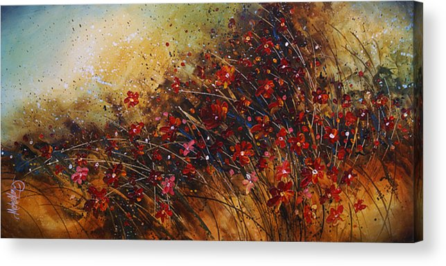 Red Flowers Acrylic Print featuring the painting Wild by Michael Lang