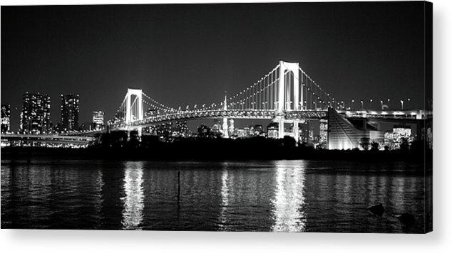 Horizontal Acrylic Print featuring the photograph Rainbow Bridge At Night by Xkhol