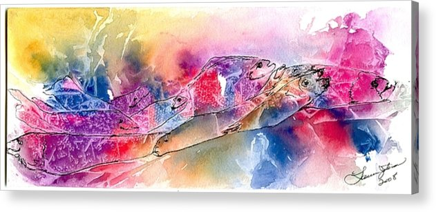 Fish Acrylic Print featuring the painting A Rainbow Of Salmon by Laura Johnson