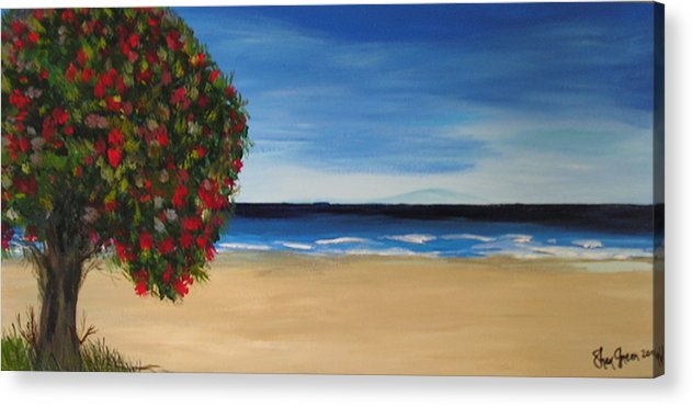 Coastal Landscape Tree New Zealand Pohutukawa Summer Days Waves Blue Ocean Pacific Acrylic Print featuring the painting Beachside by Sher Green