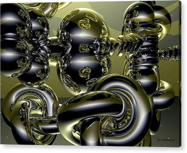 Gold Acrylic Print featuring the digital art Twisted Logic by Robert Orinski