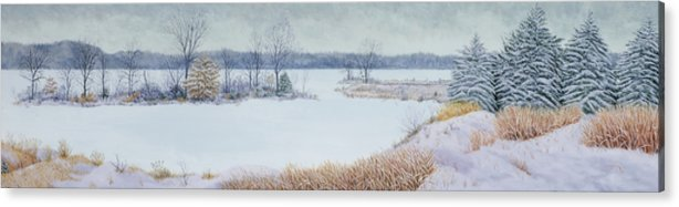 Panorama Acrylic Print featuring the painting Winter Lake And Cedars by Garry McMichael