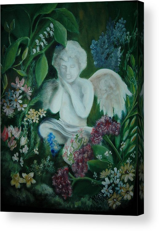 Gardens Acrylic Print featuring the painting Concrete Angel by Vivian Mosley