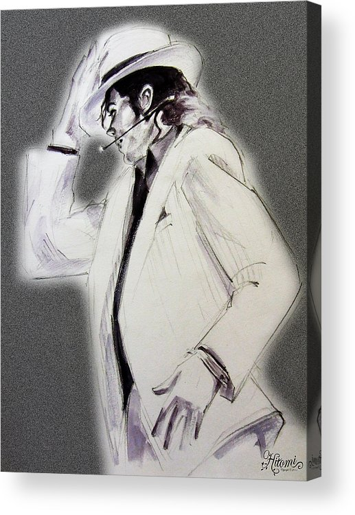 Michael Jackson Acrylic Print featuring the drawing Michael Jackson - Smooth Criminal In Tii by Hitomi Osanai