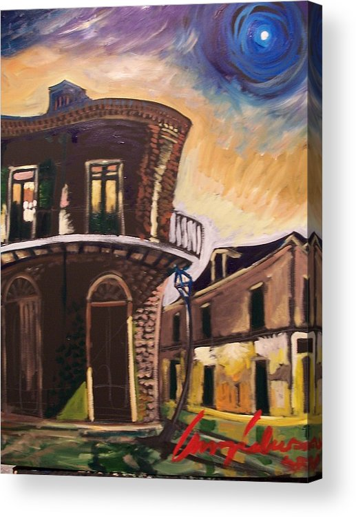 Cityscape Acrylic Print featuring the painting Royal St Sunrise by Amzie Adams