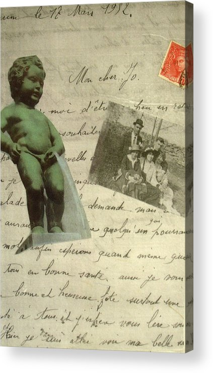French Letters Statue Stamps Collage Acrylic Print featuring the mixed media French Memoirs by Susan Grissom