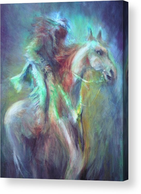 Native American Acrylic Print featuring the painting Ghost Rider by Elizabeth Silk