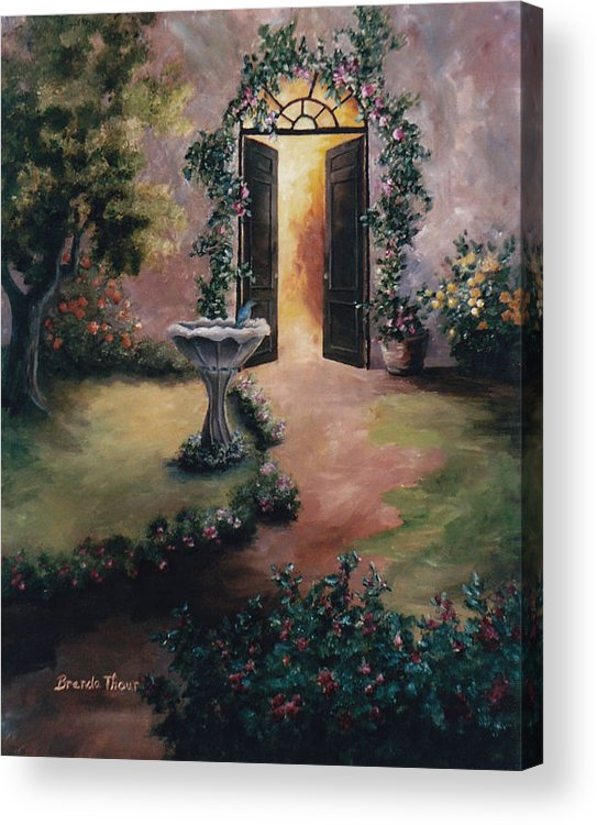 Flower Acrylic Print featuring the painting Welcoming Light by Brenda Thour