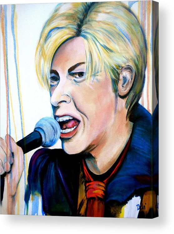 David Bowie Acrylic Print featuring the painting David Bowie by Debi Starr