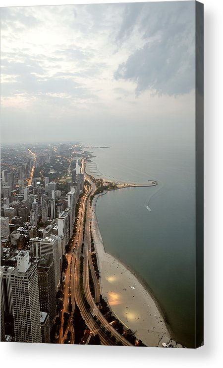 Vertical Acrylic Print featuring the photograph Lake Michigan And Chicago Skyline. by Ixefra