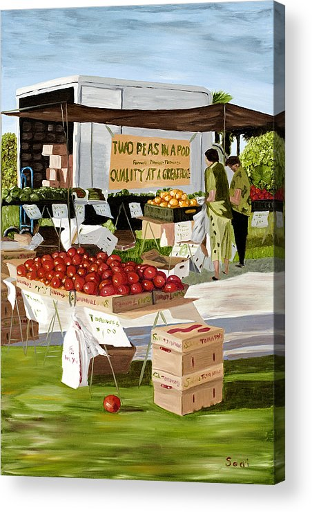 Food And Beverage Acrylic Print featuring the painting Two Peas In A Pod by Sodi Griffin